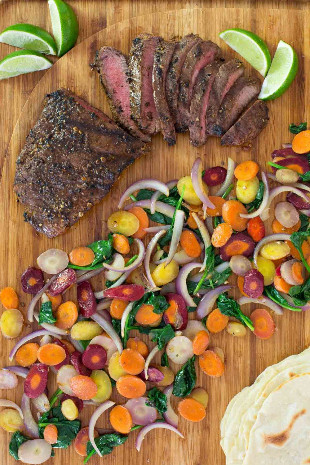 Grilled Mexican Flat Iron Steak with Rainbow Carrots