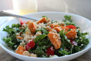 Roasted Yam, Chickpea, and Kale Salad