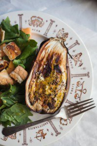 Roasted Eggplant w/ Turmeric Yogurt Sauce