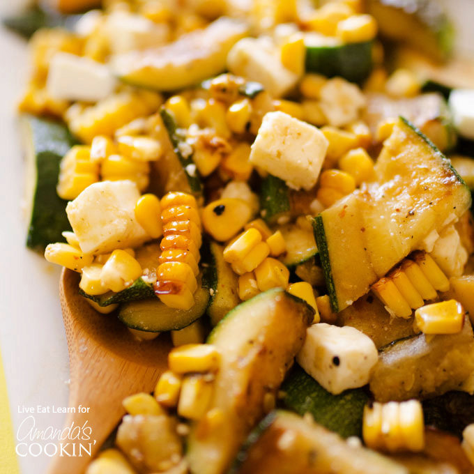 Grilled Corn and Zucchini Salad with Feta
