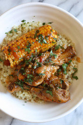 Pressure Cooker Stewed Chicken with Corn (Pollo Guisado con Maiz)